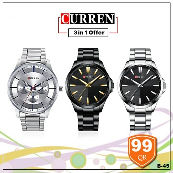Curren Watch 3 in 1 Offer, Style 1