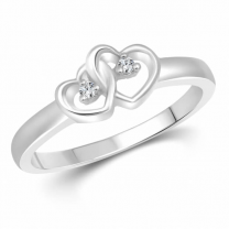 Dual Heart Shape Silver Plated Ring