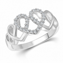 Spiral Heart Cz Rhodium Plated Ring for Women