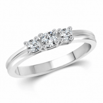 Three Stone (Cz) Silver and Rhodium Plated Ring