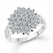 White Awesome Flora (Cz) Silver and Rhodium Plated Ring