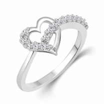 Valentines (Cz) Silver and Rhodium Plated Ring