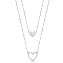 E-Pro Guess Heart In Heart Silver & Rose Gold Necklace - Double Chain