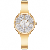 Ladies Quartz Yellow Gold PVD Case Silver Dial White Crystals Watch