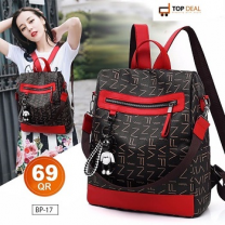 Ladies Stylish Backpack, Black And Red
