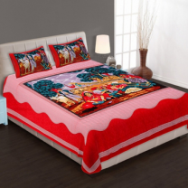 WCL - Cotton Printed Double Bedsheet With Pillow Covers-I34JPA0E22332