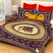 Saba - Cotton Printed Double Bedsheet With Pillow Cover-U09JP6CEEE2F4