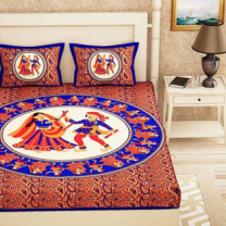 Saba - Cotton Printed Double Bedsheet With Pillow Cover-U09JP3E3D6B5F