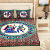 Saba - Cotton Printed Double Bedsheet With Pillow Cover-U09JPAB9CCF5B
