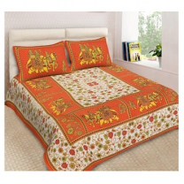 Naomi - Cotton Printed Double Bedsheet With Pillow Cover-Z54JPE91D30FC