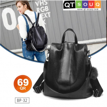 Ladies Classy Black Leather Backpack